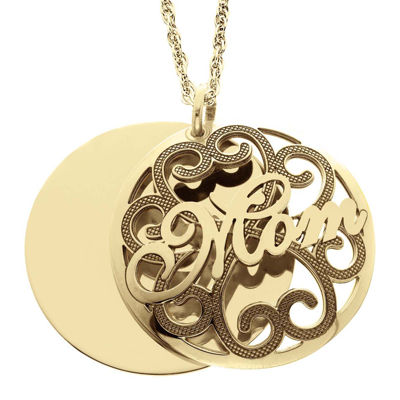 Personalized 14K Gold Over Silver Domed Mom and Family Name Pendant Necklace