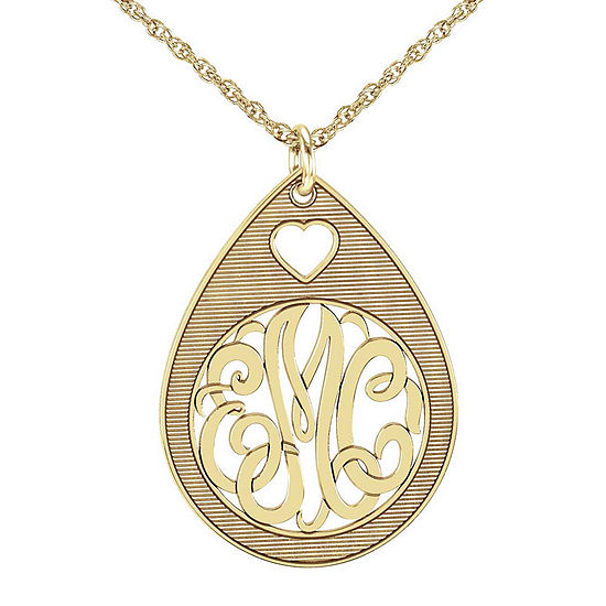 Personalized 10K Yellow Gold Monogram Oval Pendant Necklace with Heart Design