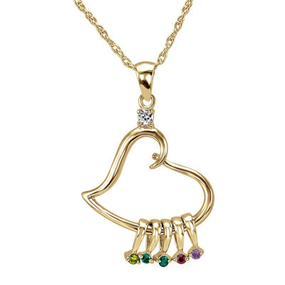 Personalized 14K Gold Over Silver Heart Dangle Pendant Necklace