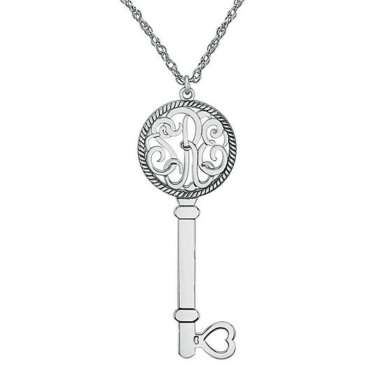 Personalized Sterling Silver Monogram Key Pendant Necklace