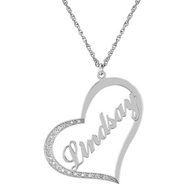 Personalized Diamond-Accent Sterling Silver Name Pendant Necklace