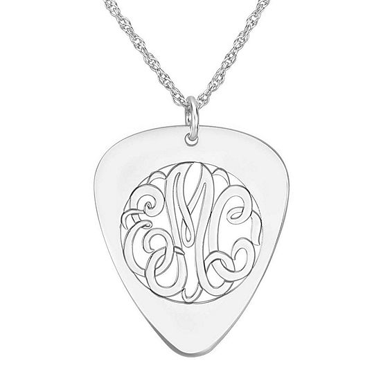 Personalized Sterling Silver Monogram Guitar Pick Pendant Necklace