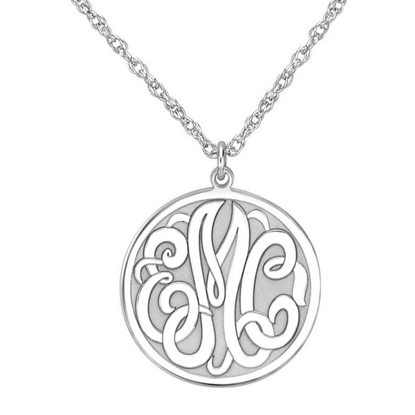 Personalized Sterling Silver 20mm Monogram Round Pendant Necklace