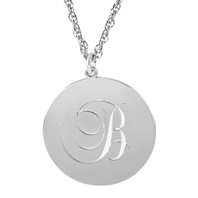 Personalized Sterling Silver Monogram Pendant Necklace