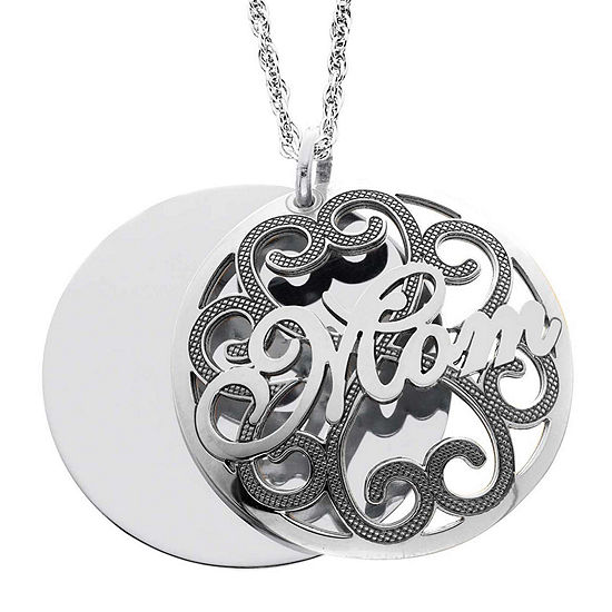 Personalized Sterling Silver Mom and Family Name Domed Pendant Necklace