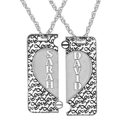 Personalized Sterling Silver Couples Name Heart Dog Tag Pendant Set