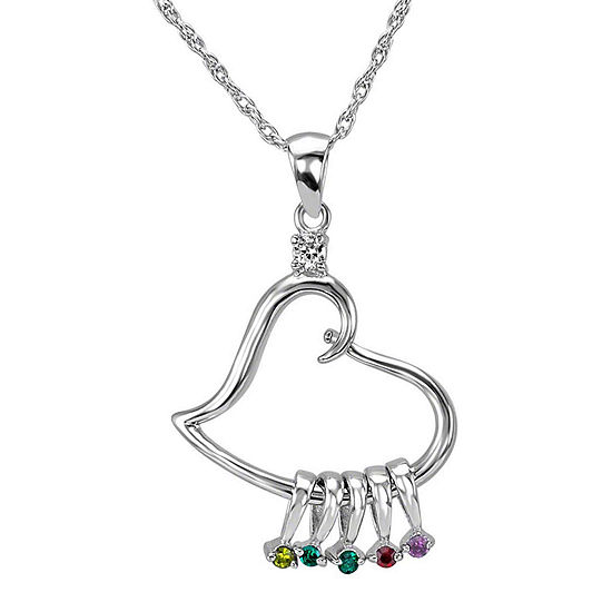Personalized Sterling Silver Heart Cubic Zirconia Birthstone Pendant Necklace