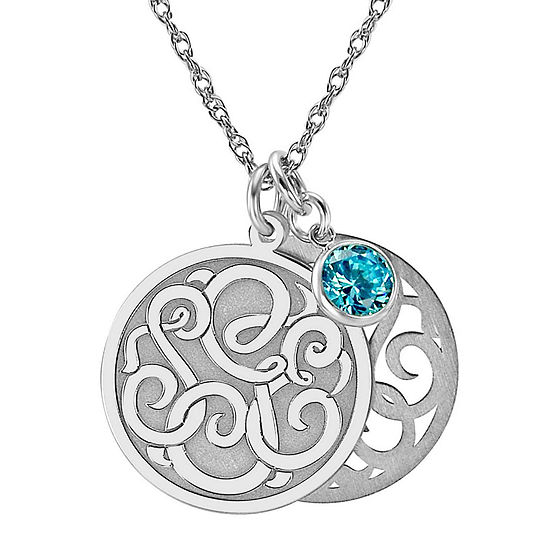 Personalized Cubic Zirconia Birthstone Sterling Silver 20mm Monogram Pendant Necklace