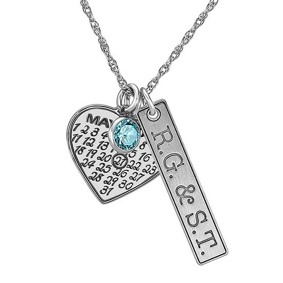 Personalized Couples Monogram Cubic Zirconia Birthstone Heart Pendant Necklace