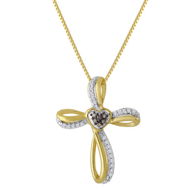 1/10 CT. T.W. White and Champagne Diamond Cross Pendant Necklace