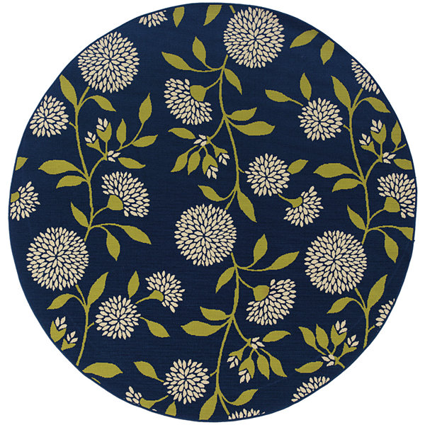 Covington Home Pom-Pom Flowers Round Indoor/Outdoor Rug