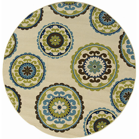 Covington Home Ivory Medallion Indoor/Outdoor Round Rug