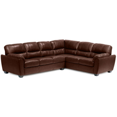 Leather Possibilities Pad-Arm 2pc Left-Arm Corner Sofa Sectional