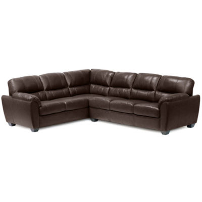 Leather Possibilities Pad Arm 2 Pc. Right Arm Corner Sofa Sectional