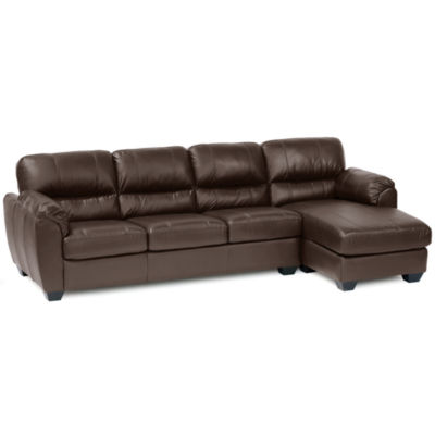 Leather Possibilities Pad-Arm 2-pc. Left-Arm Sofa/Chaise Sectional
