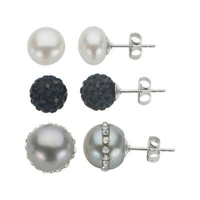Pearl & Crystal Sterling Silver 3-pr. Stud Earrings Boxed Set
