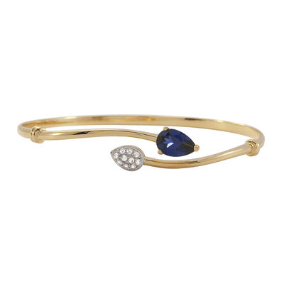 Lab-Created Blue & Lab-Created White Sapphire Bypass Bangle Bracelet