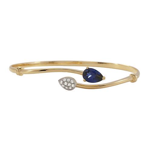 Lab-Created Blue & Lab-Created White Sapphire Bypass Bangle Bracelet