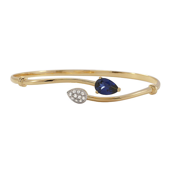 Blue & White Lab-Created Sapphire Bypass Bangle Bracelet