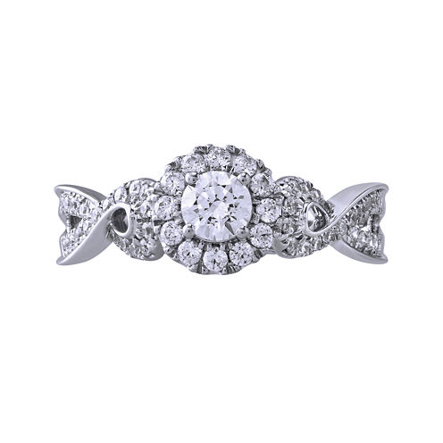 Opulent Diamond 5/8 CT. T.W. Certified Diamond 14K White Gold Twist Ring