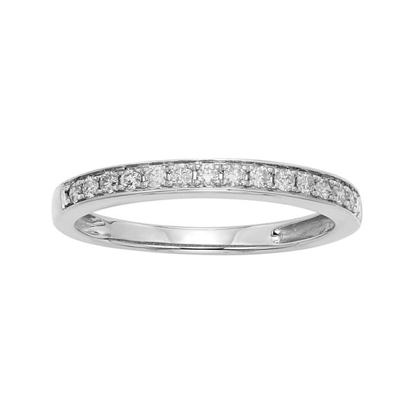 1/4 CT. T.W. Certified Diamond Single-Row White Gold Wedding Band