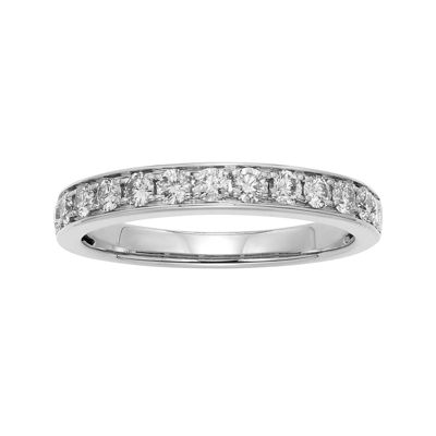 1/2 CT. T.W. Certified Diamond Single-Row White Gold Wedding Band