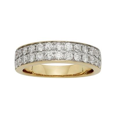 1 CT. T.W. Certified Diamond Double-Row Yellow Gold Wedding Band