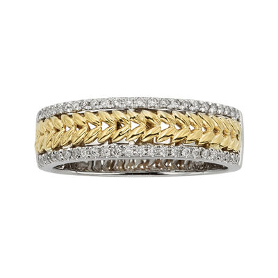 1/4 CT. T.W. Diamond Leaf 14K Two-Tone Gold Wedding Band