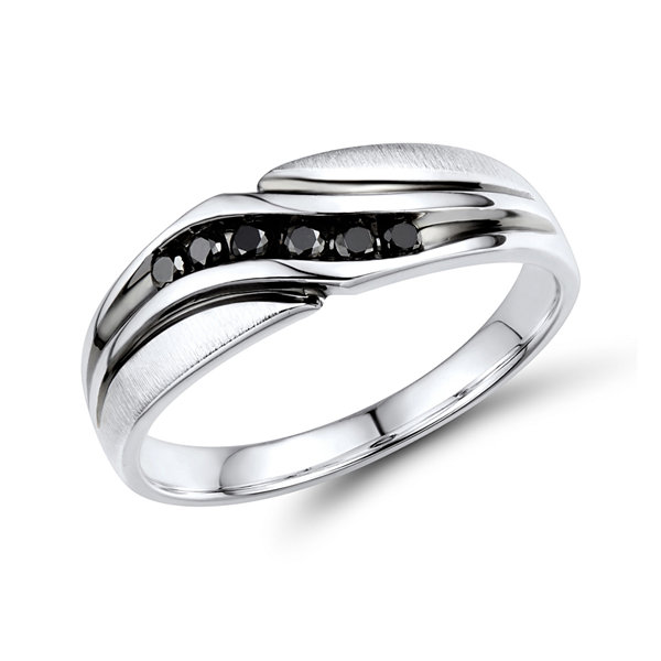 Mens 1/5 CT. T.W. Color-Enhanced Black Diamond Sterling Silver Wave Comfort Fit Ring
