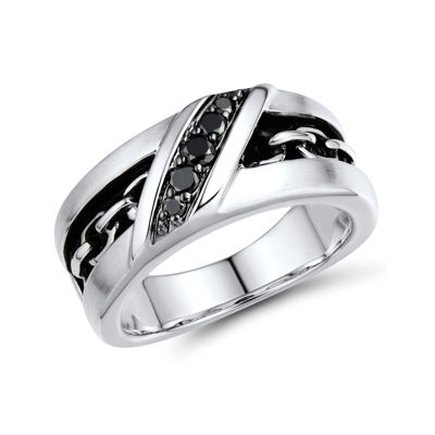 Mens 1/4 CT. T.W. Color-Enhanced Black Diamond and Inlaid Chain-Link Ring