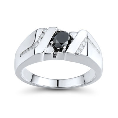 Mens 1 CT. T.W. White and Color-Enhanced Black Diamond Sterling Silver Comfort Fit Ring