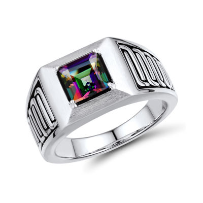 Mens Genuine Mystic Fire Topaz Sterling Silver Comfort Fit Ring