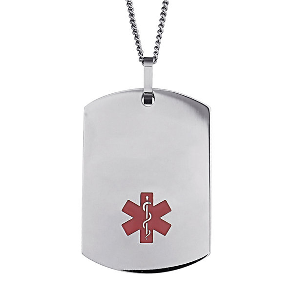 Personalized Stainless Steel Dog Tag Medical ID Necklace