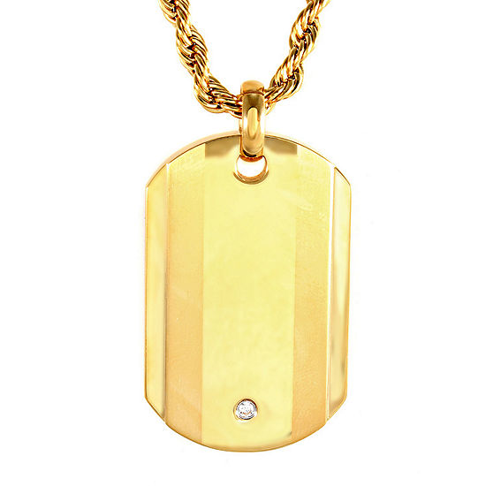 Mens Cubic Zirconia Gold-Tone Ion-Plated Stainless Steel Dog Tag Pendant Necklace