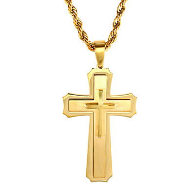 Mens Gold-Tone Ion-Plated Stainless Steel Cross Pendant Necklace