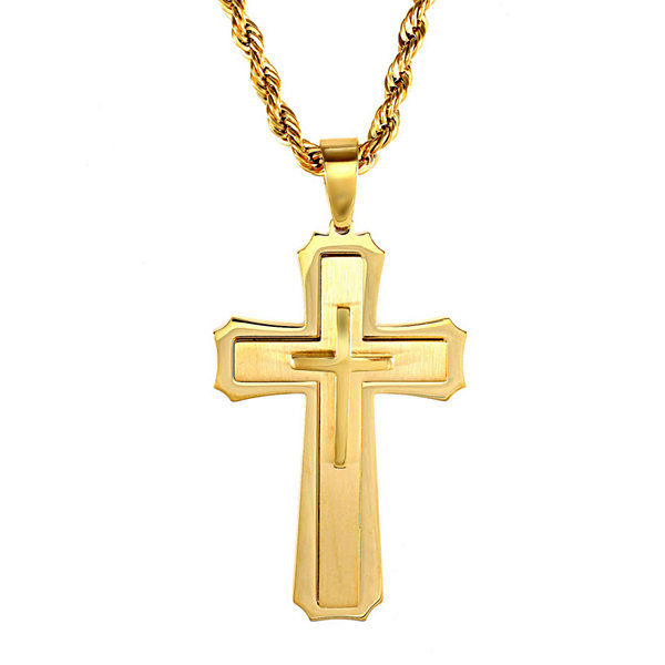 Mens gold tone ion plated stainless steel cross pendant necklace mens gold tone ion plated stainless steel cross pendant necklace aloadofball Images