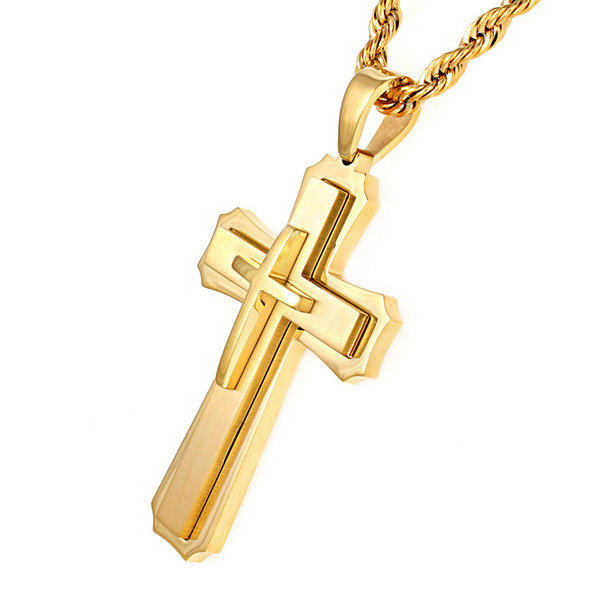 Mens gold tone ion plated stainless steel cross pendant necklace mens gold tone ion plated stainless steel cross pendant necklace aloadofball Choice Image