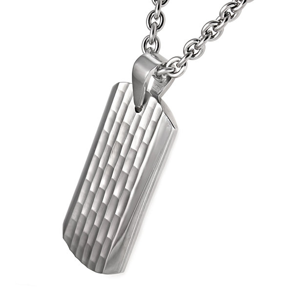 Mens Stainless Steel Hammered Dog Tag Pendant Necklace