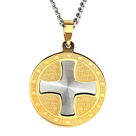 Mens Lord's Prayer Two-Tone Stainless Steel Pendant Necklace, One Size , Two Tone