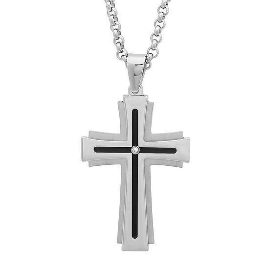 Mens Diamond-Accent Two-Tone Stainless Steel Cross Pendant Necklace