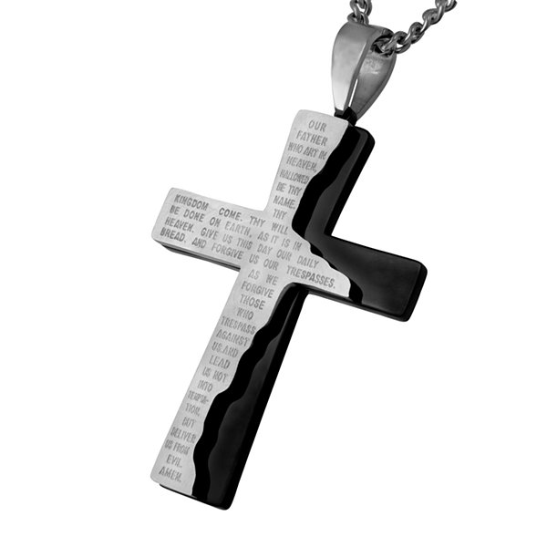 Mens Lord's Prayer Two-Tone Stainless Steel Cross Pendant Necklace