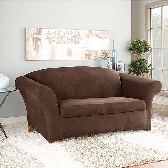 Sure Fit Stretch Faux Suede 2 Pc Loveseat Slipcover