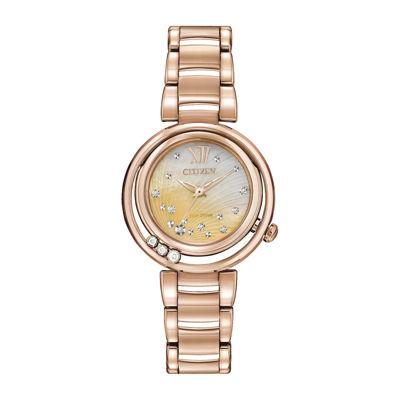 Citizen® Eco-Drive® Sunrise Womens Diamond-Accent Bracelet Watch EM0323-51N