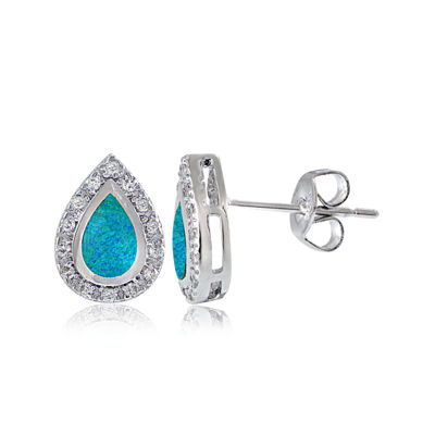Dazzling Designs™ Simulated Blue Opal and Cubic Zirconia Teardrop Earrings