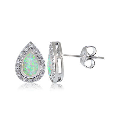 Dazzling Designs™ Simulated Opal and Cubic Zirconia Teardrop Earrings