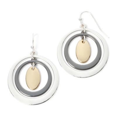 Liz Claiborne® Tri-Tone Orbital Drop Earrings