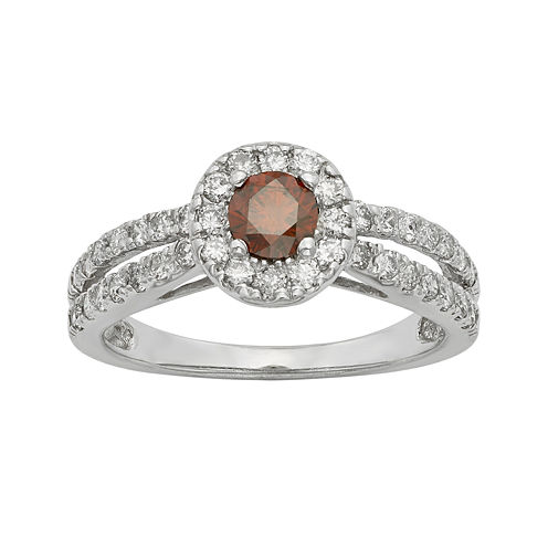 1 CT. T.W. Certified White and Color-Enhanced Red Diamond Ring
