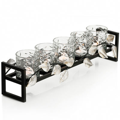 5-Light Metal Leaf Linear Candle Holder