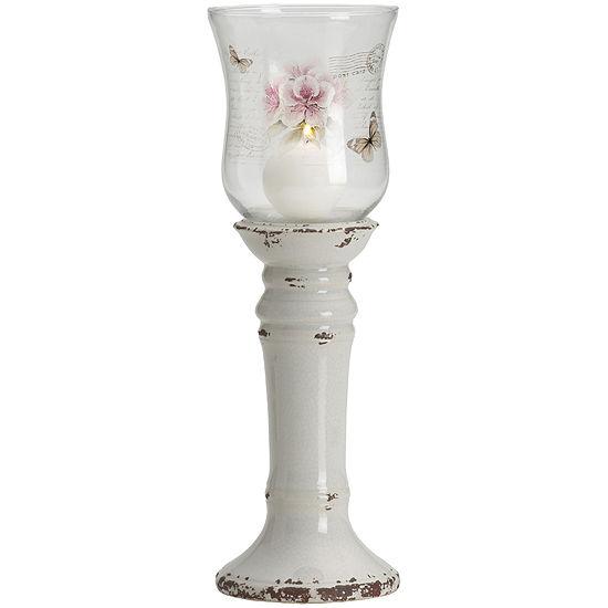 White Floral Ceramic Hurricane Candle Holder