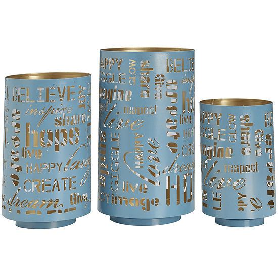 Set of 3 Teal Sentiment Luminaries Candle Holders